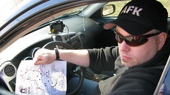 Wil, team car captain, map in hand