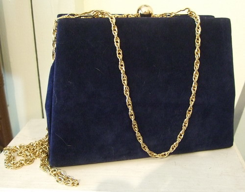 Vintage Handbag Royal Blue Felt
