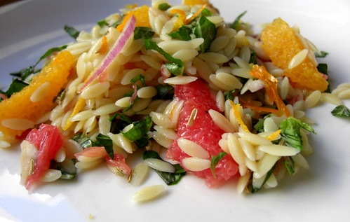 Orzo salad with fresh citrus and onion