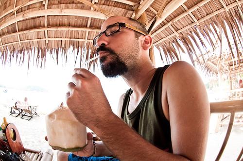 Coconut drinking in Thailand