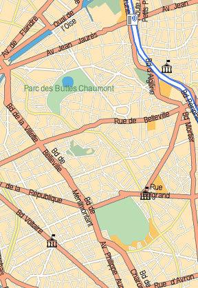 Buttes Chaumont - Parc de Belleville - Pere Lachaise - Mappy