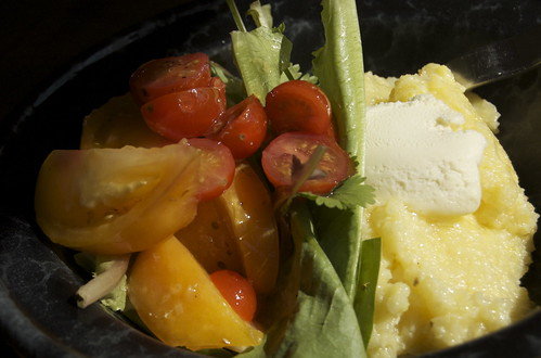 polenta with mascarpone and tomato salad