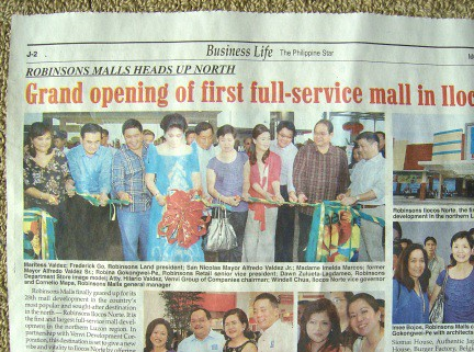 IMELDA MARCOS OPENS FIRST FULL-SERVICE MALL IN ILOCOS NORTE 1