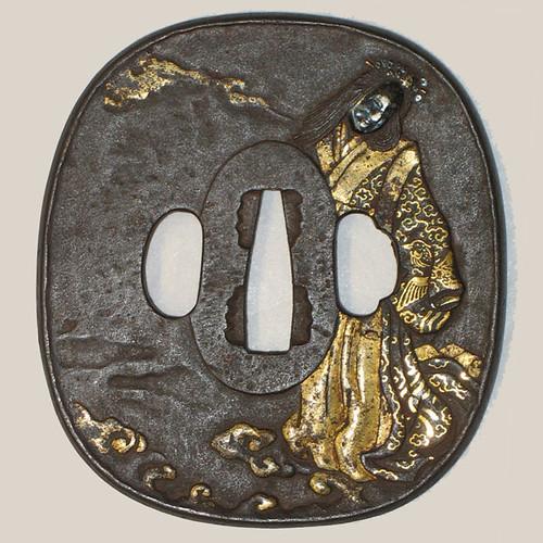 Tsuba, Iron inlaid with gold and silver, Japan, OJ48