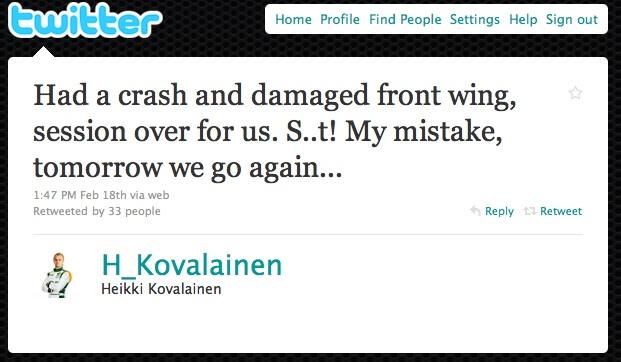 Heikki Kovalainen, Lotus, on Twitter