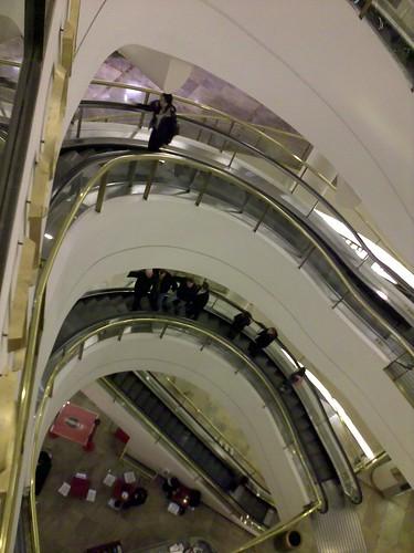 Curved escalators in Nordstroms