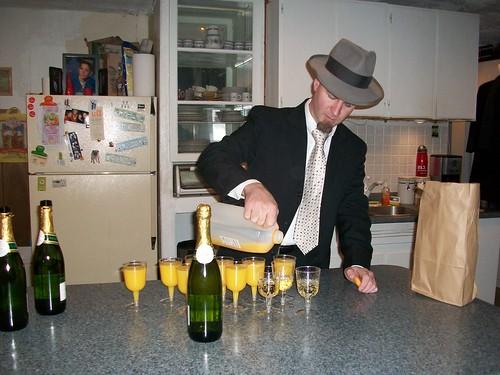 Ryan pours mimosas