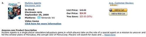 Amazon's DOTD (2/1/2010) - MySims Agents Wii & DS