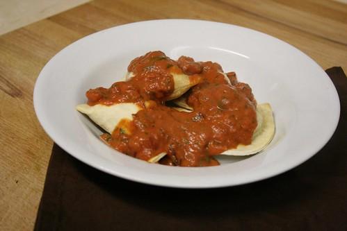 Pierogi with Tomato Dill Sauce