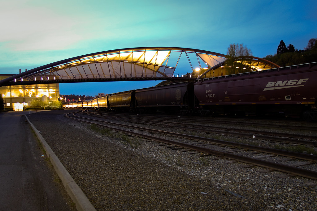 Helix Pedestrian Bridge over train tracks