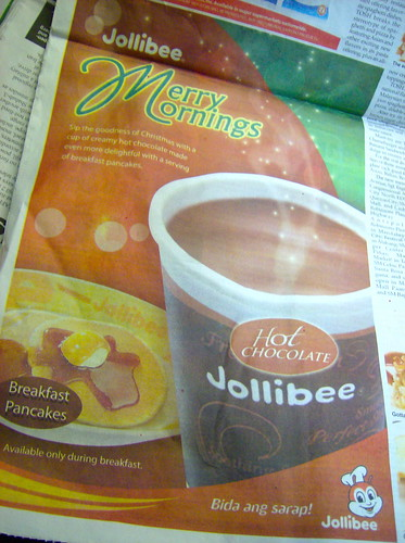 JOLLIBEE PANCAKE AD W/ HOT CHOCOLATE!