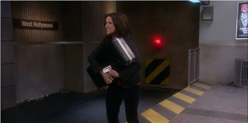 Christine, played by Julia Louis-Dreyfus, panics at the fictional West Hollywood subway station.