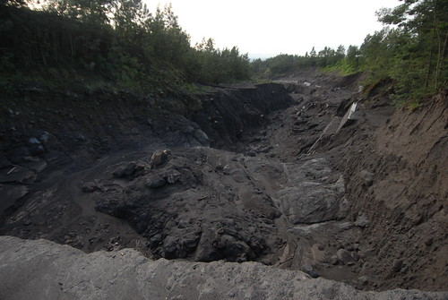 Lava flows scarred the earth below Mount Merapi years ago.