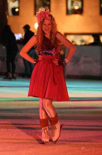 Campus trendsetter Addysen Trumper shows off her winter party style at the ice rink downtown.  Photo by Melissa Stihl/Foghorn