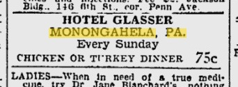 Glasser Hotel ad found in March 20, 1937 edition of Pittsburgh Press