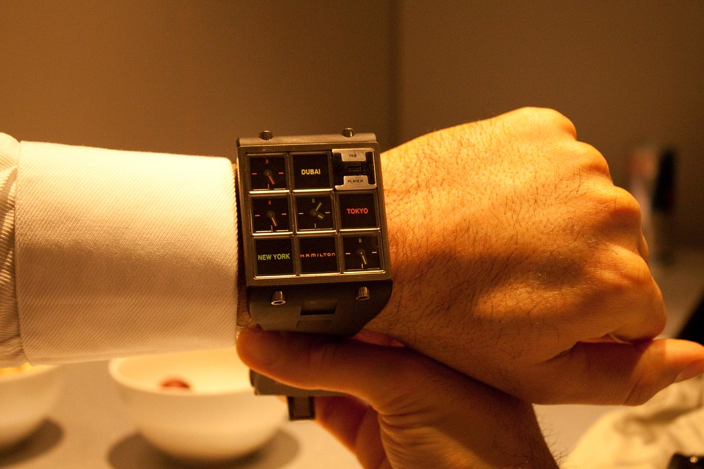 Hamilton Timeplayer wristwatch on a average size wrist