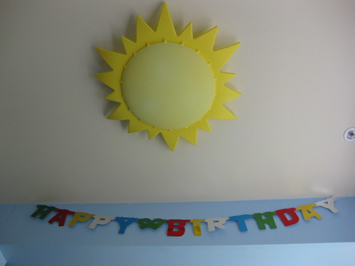 Sun Light & Happy Birthday Sign