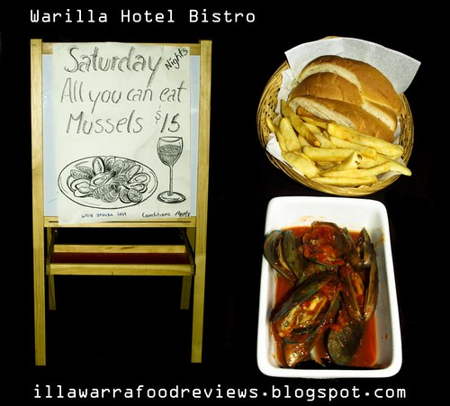 All You Can Eat Mussells only $15 with crusty bread at Warilla Hotel Bistro