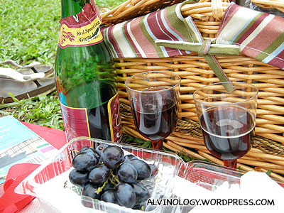 There were plastic champagne glasses and grapes too - how thoughtful