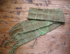 Handspun, handwoven, green and brown scarf