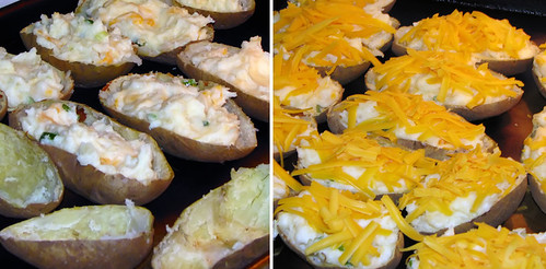 Preparing 2x Baked Potatoes
