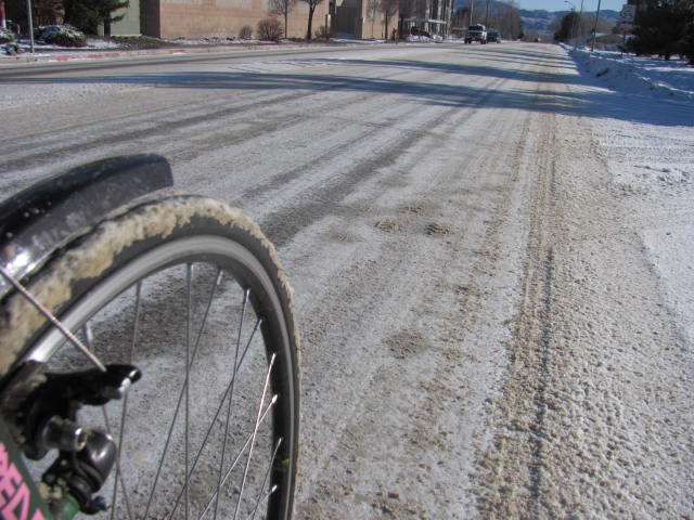 long st road bikes in the snow