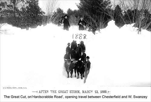 """Blizzard of March 1888 - the """"Great Cut"""" on Hardscrabble Road, opening travel between Chesterfield and West Swanzey"""