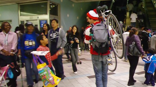 Spiderman finds Waldo and the Hollywood/Highland Red Line Station. Photo: Fred Camino