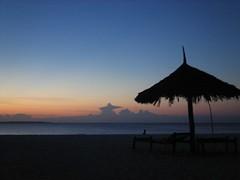 Sunset beach vista from my beach bungalow on Kendwa beach