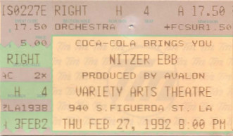 Nitzer Ebb, Variety Arts Theatre