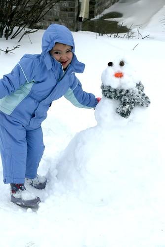 her first snow man.
