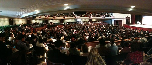 Panorama: the view from my seat of the thousands of people about to get sworn in