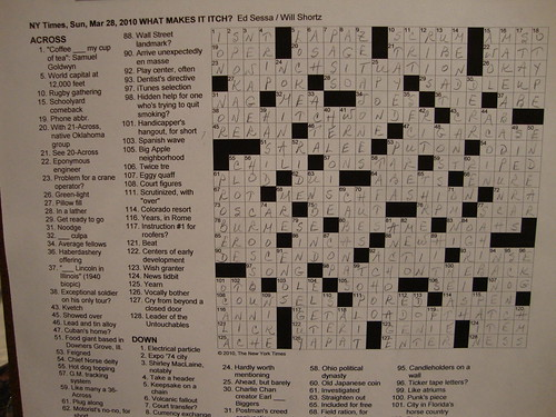 Sunday Puzzle - March 28, 2010