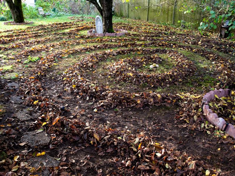 Leaf Labyrinth in my yard