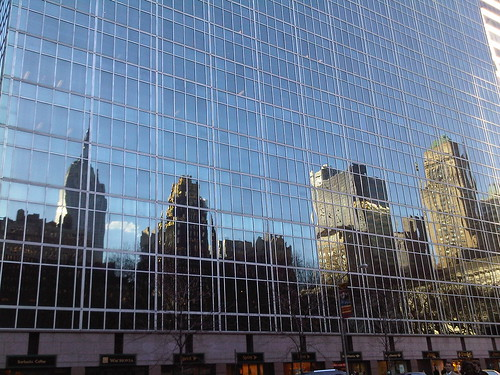Midtown Cityscape on a Glass Canvas (09March2010 - taken from the corner of 42nd Street and Avenue of the Americas)