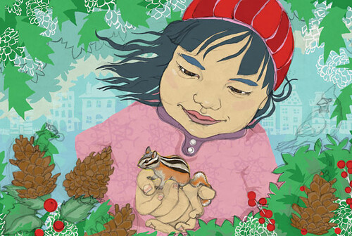 gaia cornwall illustration, winter mailer