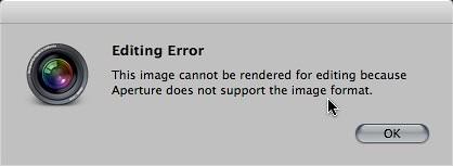 Editing Error in Aperture 3