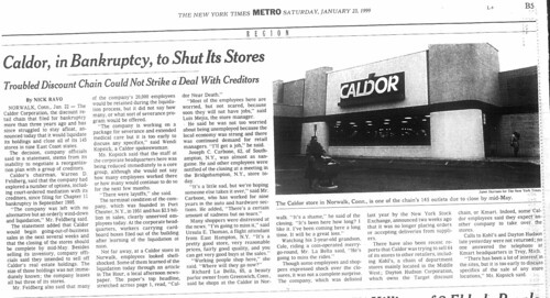 Caldor in Bankruptacyto Shut its Stores January 23, 1999