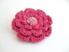 A pink crochet flower