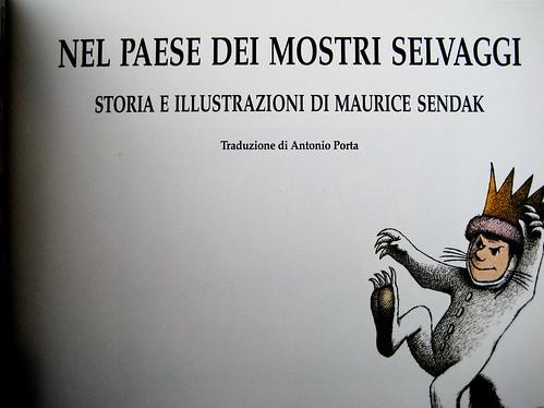 Nel paese dei mostri selvaggi, di Maurice Sendak, Babalibri 1999, 7a rist. 2009, frontespizio (part.)