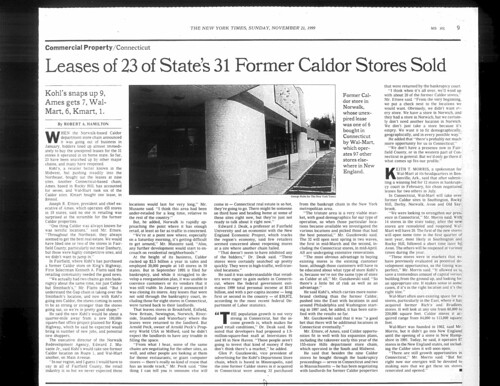 Leases of 23 of States's 31 Former Caldor Stores Sold