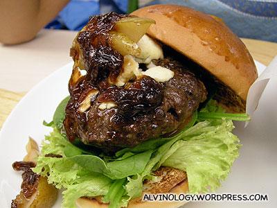 Close-up of the burger