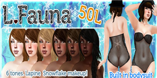 L Fauna - Skin in Lapine Snowflake Makeup with Built in Bodysuit
