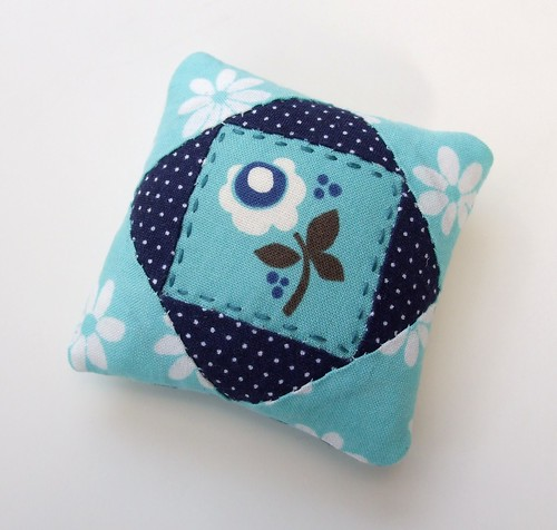 Blue flower pincushion by Very Berry Handmade