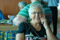 Nanny on my phone at our welcome aboard lunch on the Monarch of the Seas