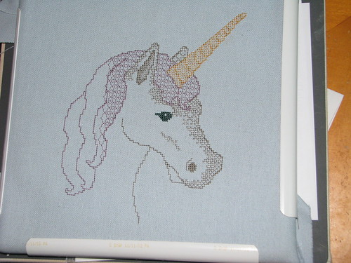 progress on blackwork unicorn cross stitch