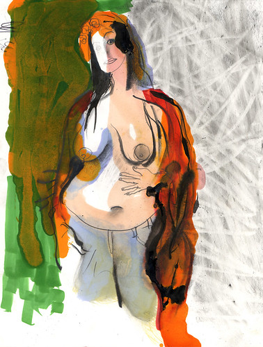 pregnant nude with scarf