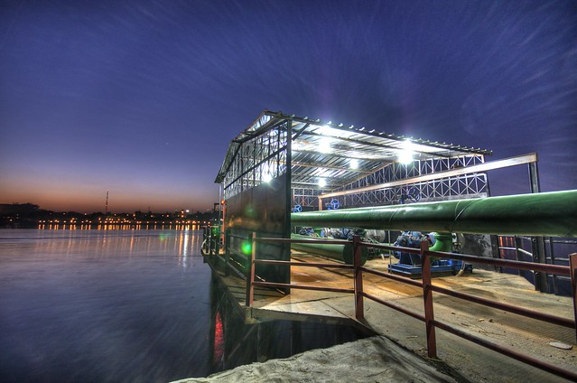 Pump station on the Nile at dawn, Luxor, Egypt (HDR)