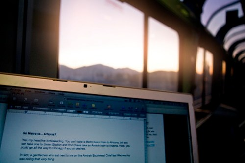 The sun rises over the Cajon Pass as yours truly writes this blog post on the Southwest Chief.