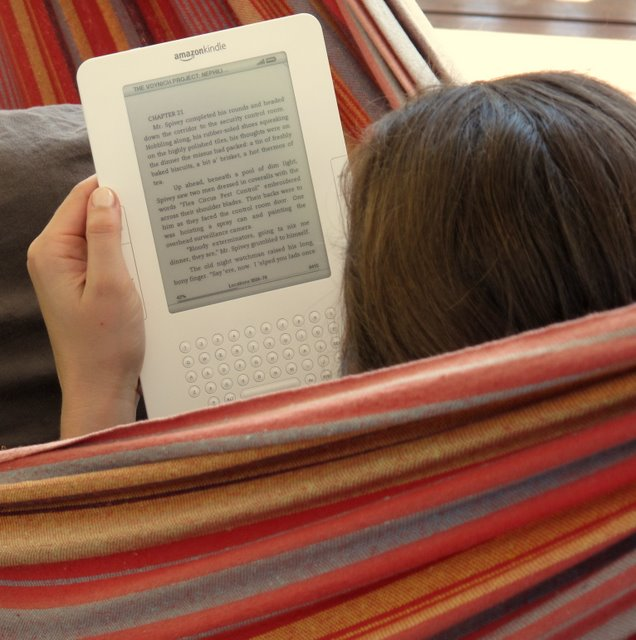 Reading the International Kindle in the hammock - photo by Joanna Penn
